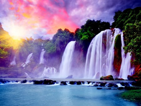 Waterfall under the colorful sky - Waterfalls & Nature ... - photo#32