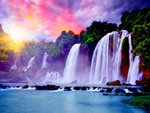 Waterfall under the colorful sky