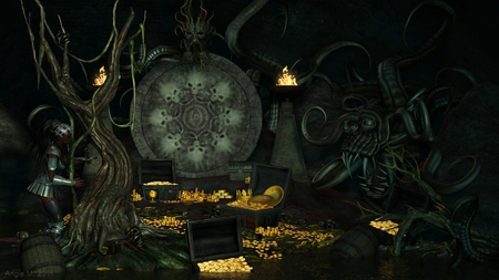 The Thief - cg, cave, fantasy, gold, 3d, water, temple, monster, treasure, creature