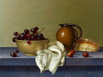 Roy Hodrien. Bread, grape and cherry (oil, canvas)