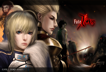 Fate/Zero - lancer, battle, warrior, cool, gilgamesh, male, group, figher, female, rider, fate stay night, assassin, anime girl, team, berserker, saber lily, brave, fate zero, saber, caster
