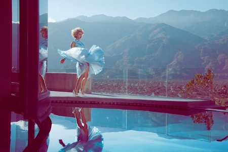 Marilyn Monroe Moment - dress, look alike, marilyn monroe, pool, retro, blue dress, girl, skirt lift  up, reflection, lady