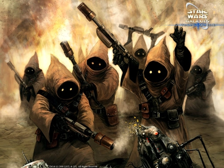 star wars: jawas - droid, cloaks, weapons, jawas, yellow eyes