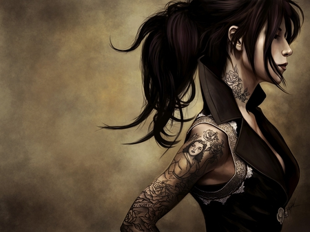 Alone - design, tattoo, ponytail, girl, alone, female, art, markings