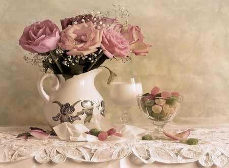 Endearing - candy, sweets, lace, vase, gum drops, beautiful, pastels, floral, still life, green, flowers, pink, table, glass, milk, nature, petals, white