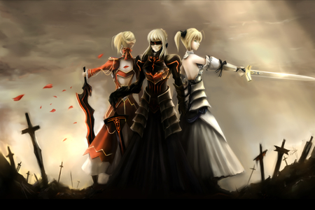 Three Saber Warrior - saber, red dress, fighter, saber lily, ponytails, fate stay night, three girls, hot, anime girl, sunrise, last stand, sword, armor dress, sun-ray, female, saber alter, brave, blonde hair, sky, sexy, bandfold, armor, cool, warrior, battle, dark, cross
