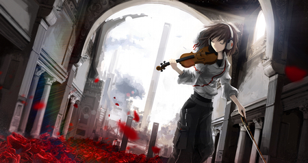 Sound of Music - flowers, short hair, anime, light, music, sound, petals, violin, roses, building