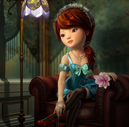 Lolita - cg, hd, face, nice, eye, 3d, cute, flower, dress, lovely, fantasy, lolita, girl, pretty, graceful, digital art