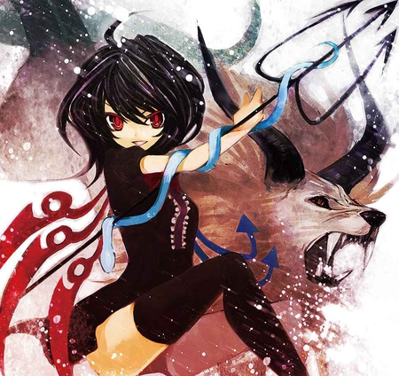 Nue Houjuu - wings, pitchfork, nue houjuu, horns, demon, touhou, wolf, red eyes, black hair