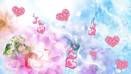 Hearts and Flowers - pink, candy, blue, flowers, hearts, pastel, abstract, bubbles, valentines day