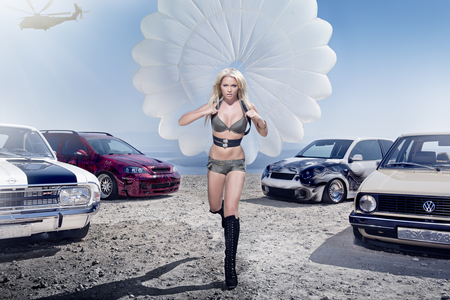 Miss Tuning 2012 - Mandy Lange - blond, boots, volkswagen, vw, 2012, beautiful, miss, woman, hair, car, hot, face, babe, legs, lange, blonde, custom, sexy, lips, tuning, girl, mandy, lady, eyes, opel