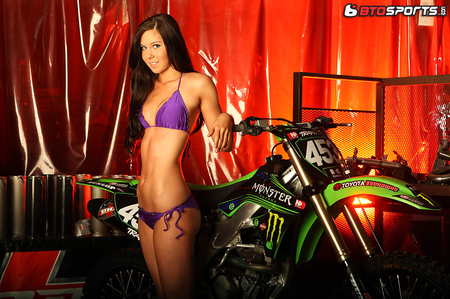 Kelsey's Bike - brown, beautiful, woman, motorcycle, hair, kelsey, hot, face, x, babe, motorcross, motox, legs, sexy, cycle, lips, bikini, brunette, girl, moto, dirt, lady, eyes, cross