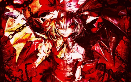 Scarlet Sisters - red, wings, scarlet sisters, flandre, chains, wing, girl, vampire, remilia