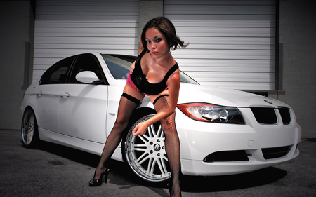 White Bmw - beamer, babe, model, sexy