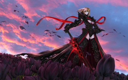 Saber - saber, fate, alter, stay, armor, blade, anime, dark, weapon, sword, night
