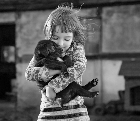 a lullaby - child, girl, puppy, black and white, lullaby