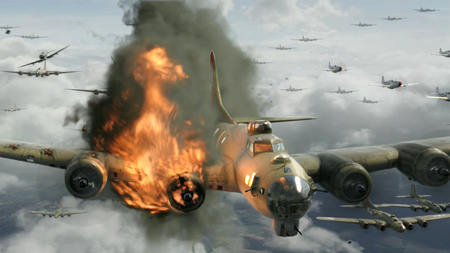 Red Tails Devastation - me 109, b-17, flames, wallpaper, Entropy, shot down, p-51, 1920 x 1080, red tails