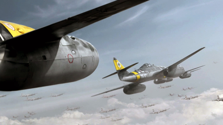 Red Tails Me 262 - me 262, b-17, Entropy, wallpaper, 1920 x 1080, jet, red tails