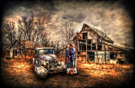 Ma and Pa - kettle, textured, filter, creative, farm, country