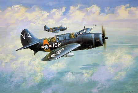 Curtiss SB2 Helldiver - world, art, war, ww2, sb2c, airplane, plane, antique, helldiver, wwii, drawing, painting, classic, sb2, curtiss
