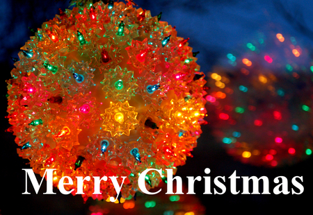 Merry Christmas - reflection, christmas, holidays, merry christmas, lighted, december, 25th, ball