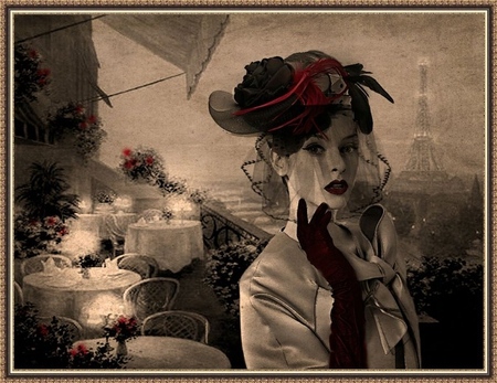 Metropole Paris - cafe, eiffel tower, paris, charm, madame, duotone, photomontage, digital art work