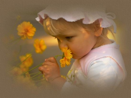 Enjoy Nature ! - flowers, lovely, smelling, girl, blooms, baby, yellow
