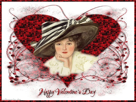 Happy Valentines Day - hearts, valentine, victorian, hat, lady, red