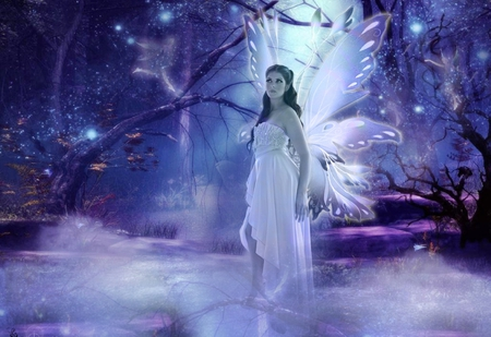 My fairy Bina - wings, wonderful, face, magic, forest, fairy, imagine, moon, imagination, night, hair, butterfly, trees, beauty, white dress, purple, fantasy, stars, moonlight, beautiful fairy