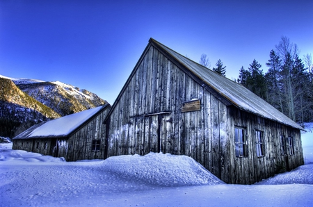 Snow Covered Shop - shop, blacksmith, snow, hdr, sky, winter