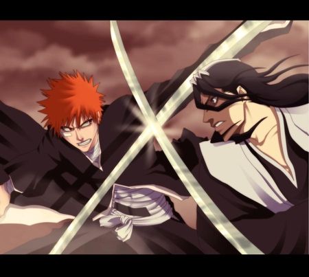 Ichigo VS Byakuya - ichigo kurosaki, soul reapers, spiky hair, anime, g, black hair, bleach, swords, fighting, ichigo, weapons, shinigami, kurosaki ichigo, battle, katana, fight, orange hair