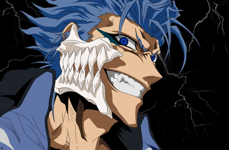 Grimmjow Jeagerjaques - bleach, smile, espada, blue hair, spiky hair, black background, anime, grimmjow jeagerjaques, arrancar, face, jaw bone, grimmjow, blue eyes, vector