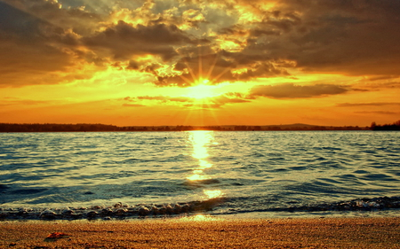 Sunset over the sea - beautiful colors, sunset, over, nice reflection, shoreline, wonderful sky, sea