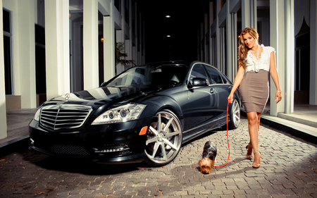 Yorkie takes mom and merc for a spin - dress, blond, beautiful, woman, wheels, hair, yorkie, car, hot, face, mercedes, luxury, dog, babe, legs, rims, skirt, blonde, sexy, heels, lips, benz, girl, lady, eyes