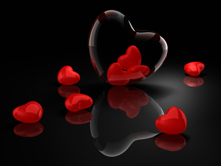 Hearts - beauty, valentine, lovely, love, harmony, black, elegantly, pretty, abstract, red, beautiful, heart, holiday, for you, delicate, hearts, romance, colors, i love you, romantic, photography, reflection, valentines day