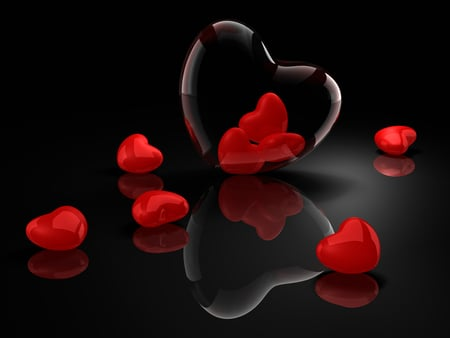 Hearts - hearts, photography, harmony, romantic, abstract, valentines day, red, elegantly, valentine, holiday, for you, i love you, love, colors, heart, reflection, beauty, beautiful, lovely, romance, pretty, delicate, black