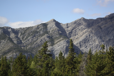 Mountains of Banff 01, Alberta - Canada - trees, sky, clouds, photography, green, mountains, nature, white, blue