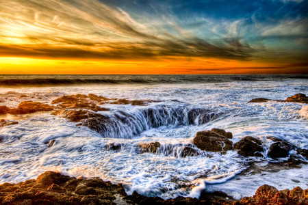 Thor's Well - pretty, rocks, oregon, ocean, well, beautiful, sunset, sky, clouds, sea, water, cooks, chasm, thors