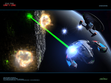 star trek: crossfire - stars, firing, planet, starship, explosion, borg cube, shuttle