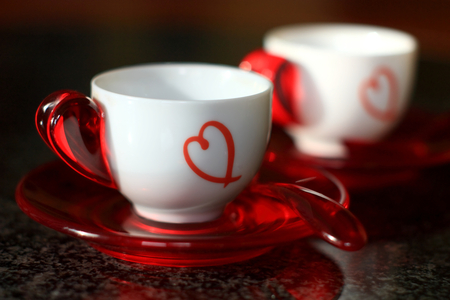 Happy Valentine's Day!!! - hearts, drink, photography, white, harmony, romantic, abstract, valentines day, red, elegantly, valentine, holiday, coffee, for you, i love you, love, colors, heart, beauty, beautiful, lovely, romance, cups, pretty, delicate, black