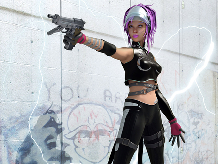 Anime Warrior - gun, cg, anime, abstract, artwork, 3d