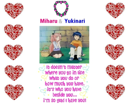 Miharu & Yukinari - hm, mihaur, sasaki, yukinari, hearts, picnic basket, love poem, love power, anime, love, heart reef, other