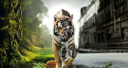 Electronic Tiger - 3D and CG & Abstract Background ...
