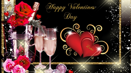 Another Valentine Wallpaper - valentines day, stars, romantic, romance, glasses, shine, roses, hearts, gold, love, champagne