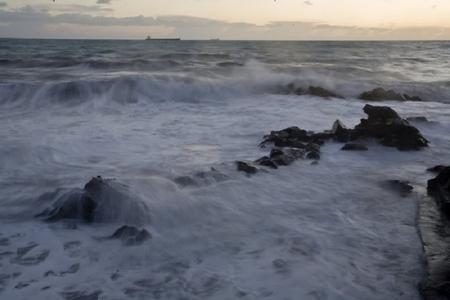 Foaming Waves - water, waves, ocean, rock
