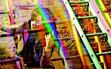 Colorful - pretty, colorful, paint, ladder, rainbow, woman, jacket, lady, gorgeous