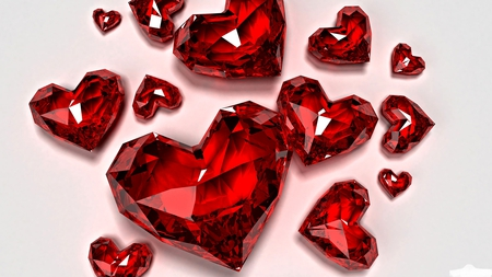 Ruby love hearts - red, beautiful, small, sweet, photography, love, gorgeous, sparkling, jewels, holiday, ruby, hearts, jewelry, glass, sizes, lovehearts, large, white