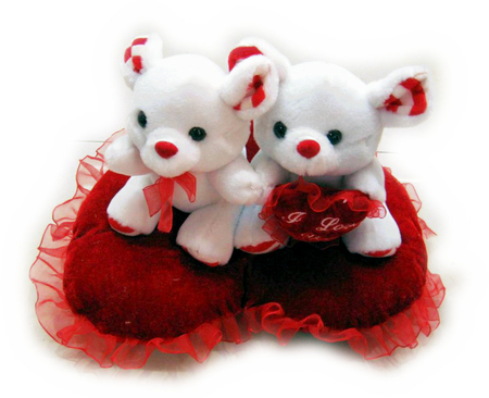 Sweet teddy bears in love. - red valentines day, bears, heart, love