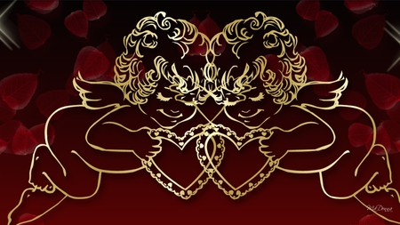 Gold Cupids - lovers, valentines day, red, gold cupids, love, black, cherubs, hearts