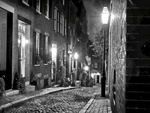 Cobblestone lane in black and white